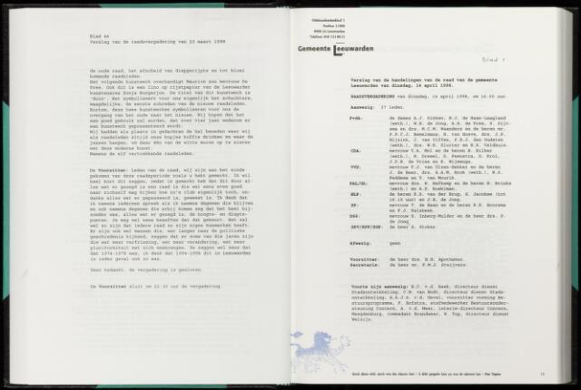 Raadsverslagen van de gemeente Leeuwarden, 1865-2007 (Notulen) 1998-04-14