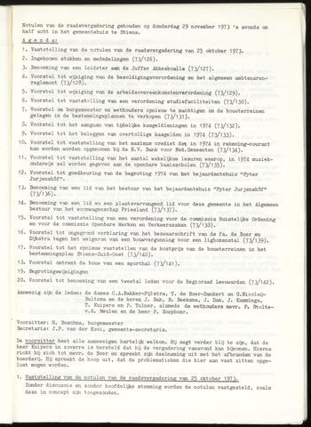 Notulen van de gemeenteraad van Leeuwarderadeel 1973-11-29
