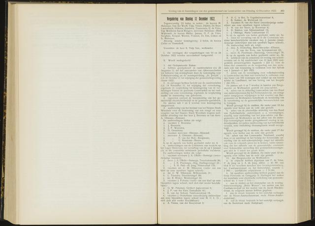 Raadsverslagen van de gemeente Leeuwarden, 1865-2007 (Notulen) 1922-12-12
