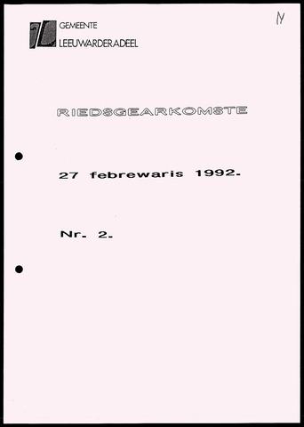 Notulen van de gemeenteraad van Leeuwarderadeel 1992-02-27