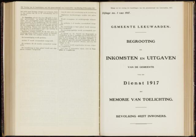 Raadsverslagen van de gemeente Leeuwarden, 1865-2007 (Bijlagen) 1917-01-01