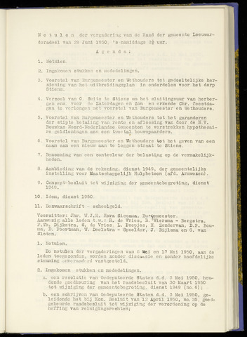 Notulen van de gemeenteraad van Leeuwarderadeel 1950-06-29