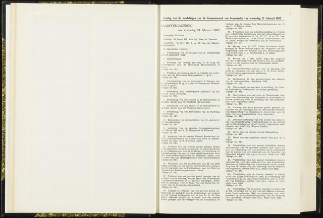 Raadsverslagen van de gemeente Leeuwarden, 1865-2007 (Notulen) 1962-02-21