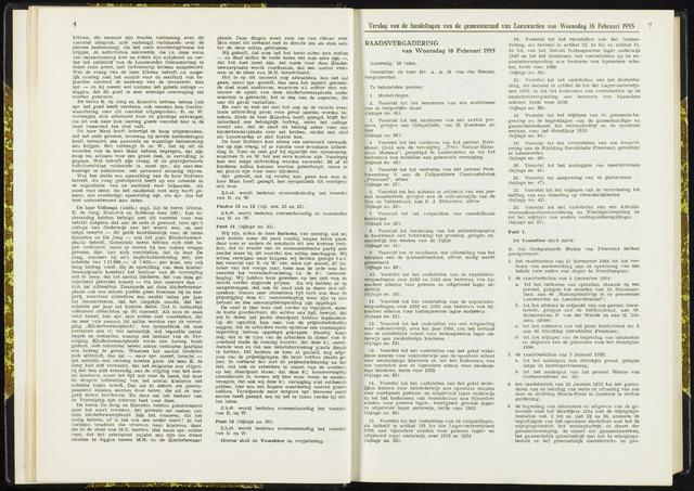 Raadsverslagen van de gemeente Leeuwarden, 1865-2007 (Notulen) 1955-02-16