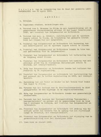 Notulen van de gemeenteraad van Leeuwarderadeel 1953-04-30