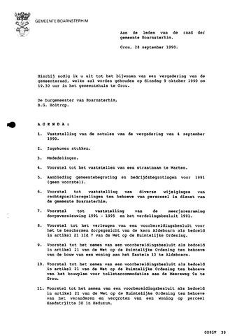 Boarnsterhim vergaderstukken gemeenteraad  1990-10-09