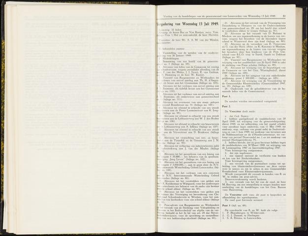 Raadsverslagen van de gemeente Leeuwarden, 1865-2007 (Notulen) 1949-07-13