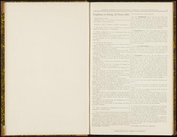 Raadsverslagen van de gemeente Leeuwarden, 1865-2007 (Notulen) 1891-02-24