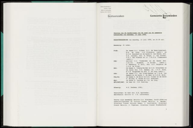 Raadsverslagen van de gemeente Leeuwarden, 1865-2007 (Notulen) 1994-06-13