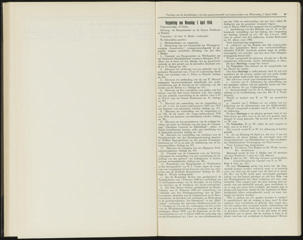 Raadsverslagen van de gemeente Leeuwarden, 1865-2007 (Notulen) 1940-04-03