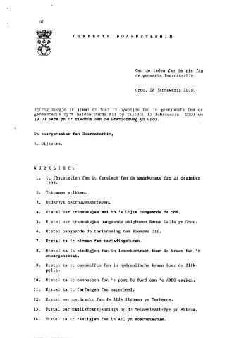 Boarnsterhim vergaderstukken gemeenteraad  2000-02-15