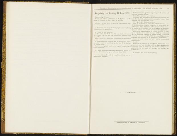 Raadsverslagen van de gemeente Leeuwarden, 1865-2007 (Notulen) 1892-03-14