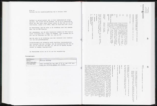 Raadsverslagen van de gemeente Leeuwarden, 1865-2007 (Notulen) 2003-11-10