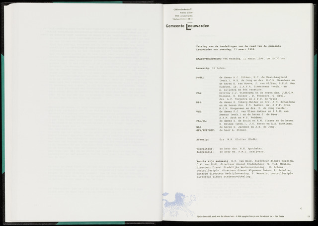 Raadsverslagen van de gemeente Leeuwarden, 1865-2007 (Notulen) 1996-03-11