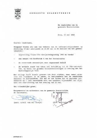 Boarnsterhim vergaderstukken gemeenteraad  1992-05-12