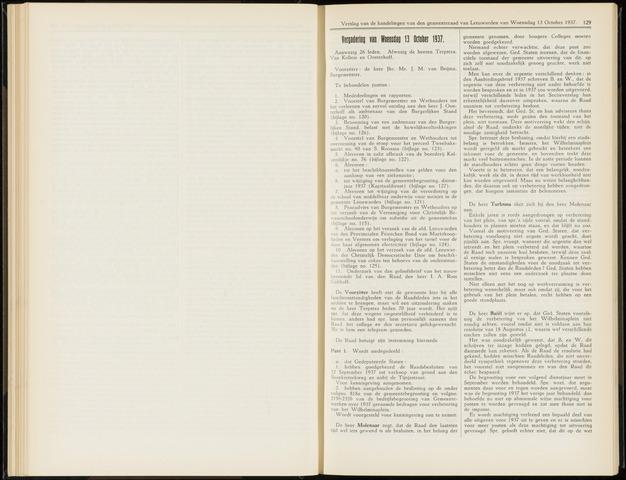 Raadsverslagen van de gemeente Leeuwarden, 1865-2007 (Notulen) 1937-10-13