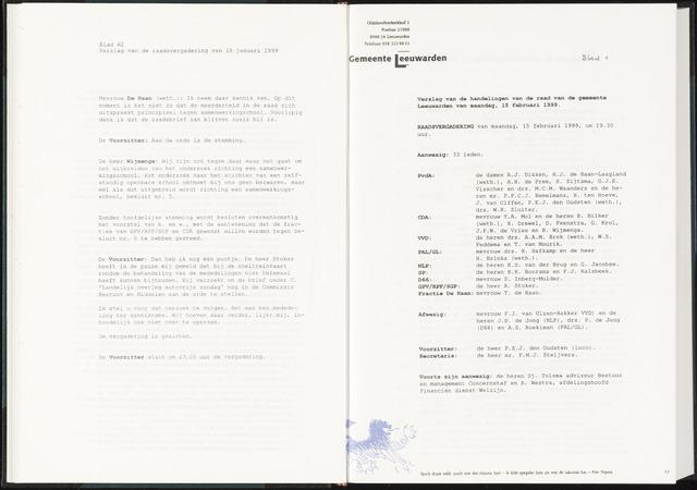 Raadsverslagen van de gemeente Leeuwarden, 1865-2007 (Notulen) 1999-02-15