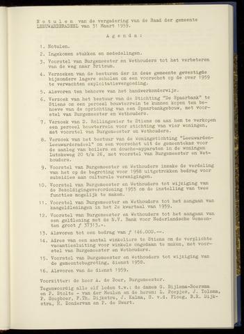 Notulen van de gemeenteraad van Leeuwarderadeel 1959-03-31