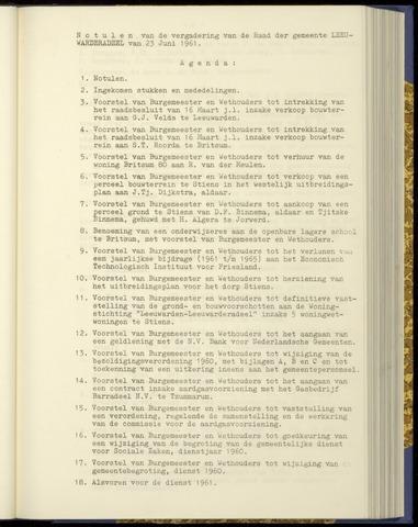 Notulen van de gemeenteraad van Leeuwarderadeel 1961-06-23