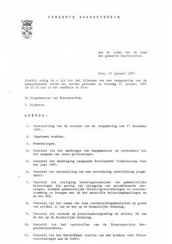 Boarnsterhim vergaderstukken gemeenteraad  1997-01-21