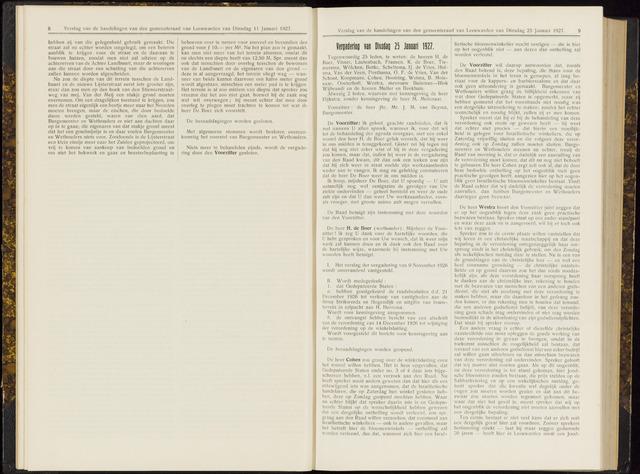 Raadsverslagen van de gemeente Leeuwarden, 1865-2007 (Notulen) 1927-01-25