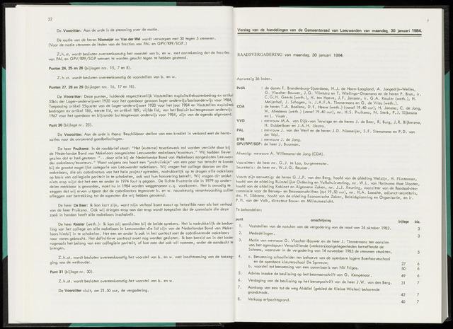Raadsverslagen van de gemeente Leeuwarden, 1865-2007 (Notulen) 1984-01-30