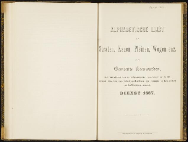 Raadsverslagen van de gemeente Leeuwarden, 1865-2007 (Bijlagen) 1887-01-01