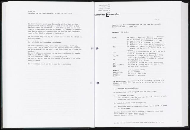Raadsverslagen van de gemeente Leeuwarden, 1865-2007 (Notulen) 2007-06-27