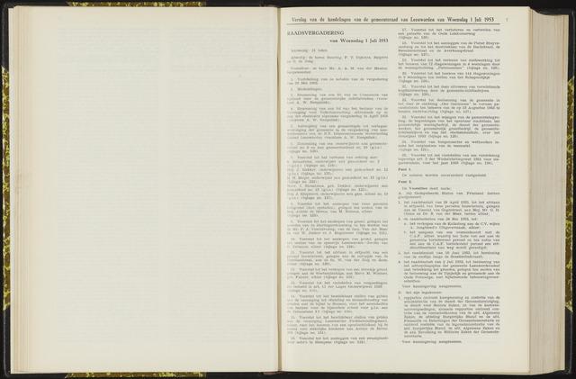 Raadsverslagen van de gemeente Leeuwarden, 1865-2007 (Notulen) 1953-07-01