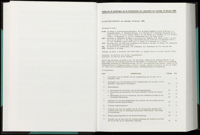 Raadsverslagen van de gemeente Leeuwarden, 1865-2007 (Notulen) 1985-02-18