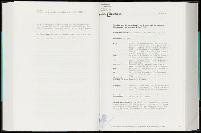 Raadsverslagen van de gemeente Leeuwarden, 1865-2007 (Notulen) 2001-07-02