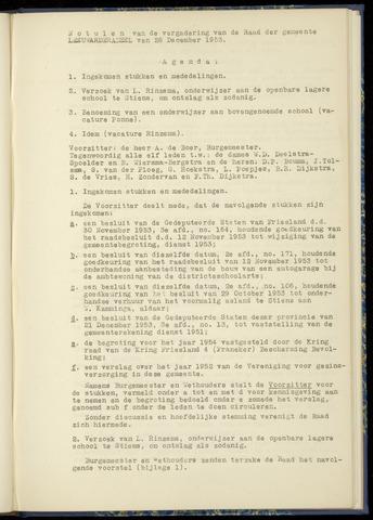 Notulen van de gemeenteraad van Leeuwarderadeel 1953-12-28
