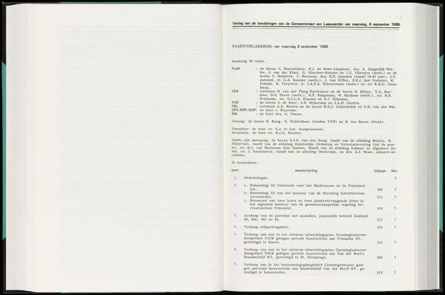Raadsverslagen van de gemeente Leeuwarden, 1865-2007 (Notulen) 1986-09-08