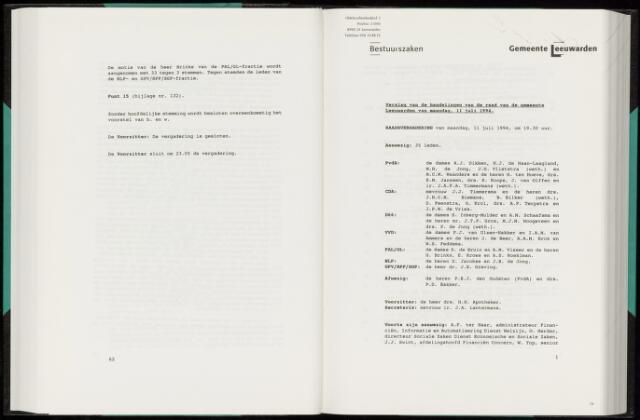 Raadsverslagen van de gemeente Leeuwarden, 1865-2007 (Notulen) 1994-07-11