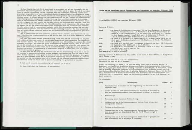 Raadsverslagen van de gemeente Leeuwarden, 1865-2007 (Notulen) 1985-01-28