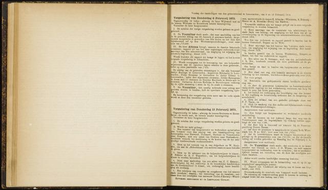 Raadsverslagen van de gemeente Leeuwarden, 1865-2007 (Notulen) 1873-02-06