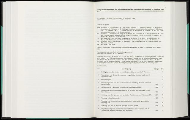 Raadsverslagen van de gemeente Leeuwarden, 1865-2007 (Notulen) 1985-12-02