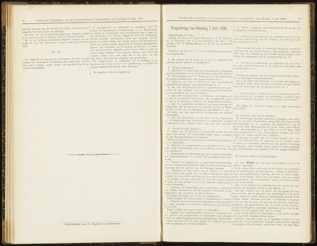 Raadsverslagen van de gemeente Leeuwarden, 1865-2007 (Notulen) 1896-07-07