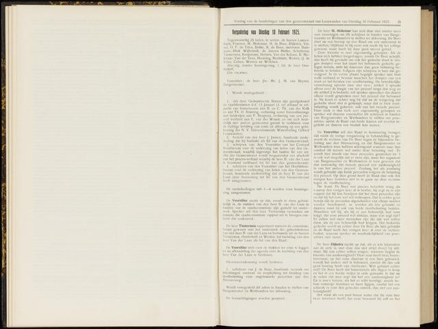Raadsverslagen van de gemeente Leeuwarden, 1865-2007 (Notulen) 1925-02-10