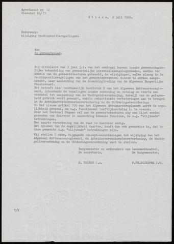 Notulen van de gemeenteraad van Leeuwarderadeel 1966-07-04