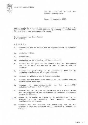 Boarnsterhim vergaderstukken gemeenteraad  1988-10-11