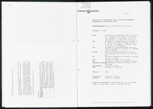 Raadsverslagen van de gemeente Leeuwarden, 1865-2007 (Notulen) 2004-02-23