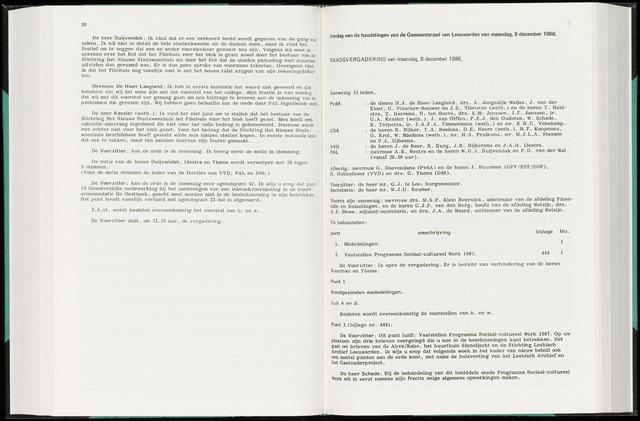 Raadsverslagen van de gemeente Leeuwarden, 1865-2007 (Notulen) 1986-12-08