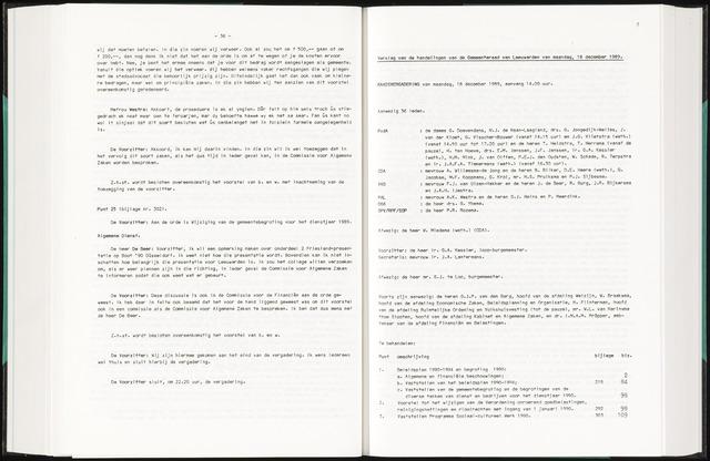 Raadsverslagen van de gemeente Leeuwarden, 1865-2007 (Notulen) 1989-12-18