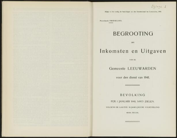 Raadsverslagen van de gemeente Leeuwarden, 1865-2007 (Bijlagen) 1941-01-01