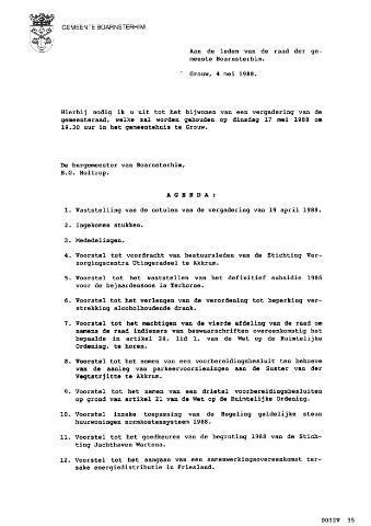 Boarnsterhim vergaderstukken gemeenteraad  1988-05-17
