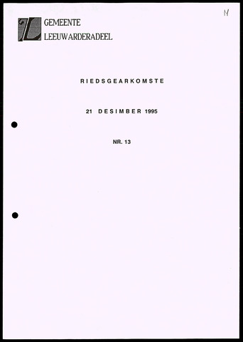 Notulen van de gemeenteraad van Leeuwarderadeel 1995-12-21