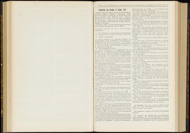 Raadsverslagen van de gemeente Leeuwarden, 1865-2007 (Notulen) 1919-10-14