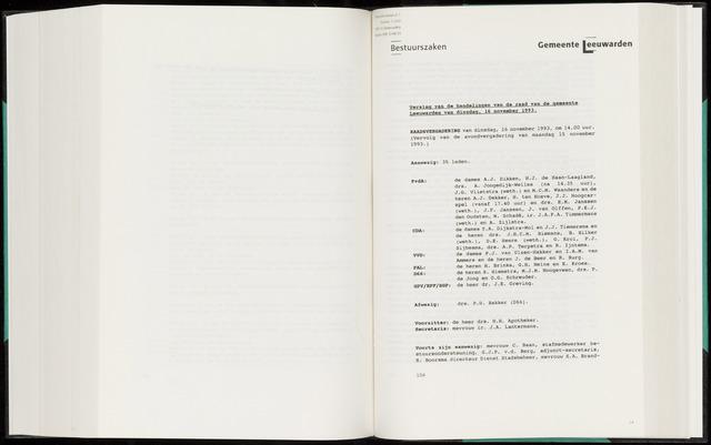 Raadsverslagen van de gemeente Leeuwarden, 1865-2007 (Notulen) 1993-11-16