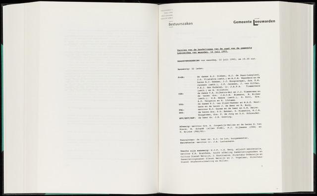 Raadsverslagen van de gemeente Leeuwarden, 1865-2007 (Notulen) 1993-07-12